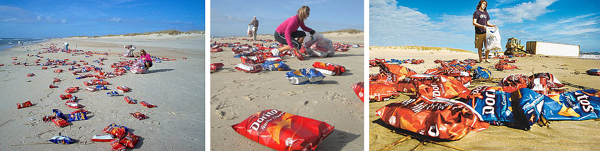 Thousands of Dorito bags litter the beaches