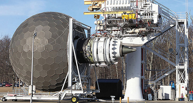 GE9X turbofan engine on a testing rig